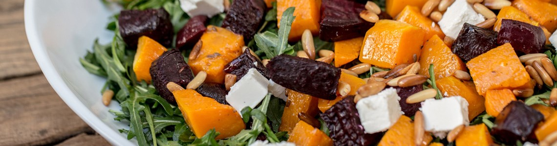 Cumin-spiced roasted beetroot and butternut squash salad